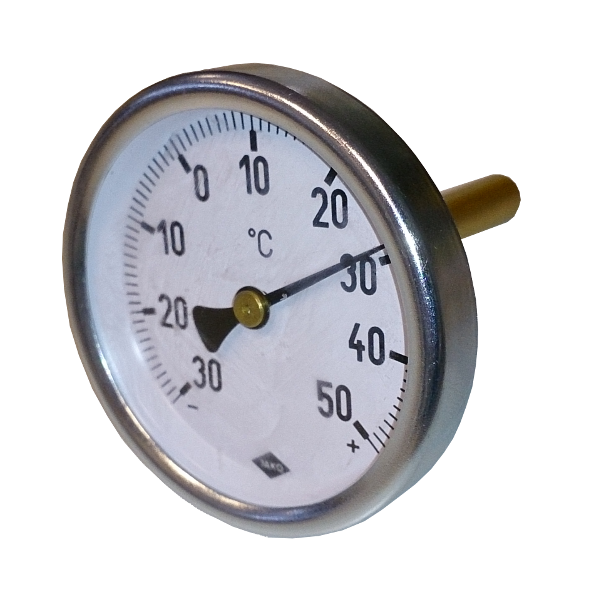 KVJK bimetal thermometer with round scale